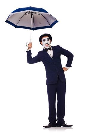 Funny man with umbrella on white