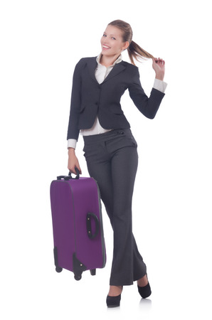 Businesswoman travelling isolated on white Stock Photo - 23353037