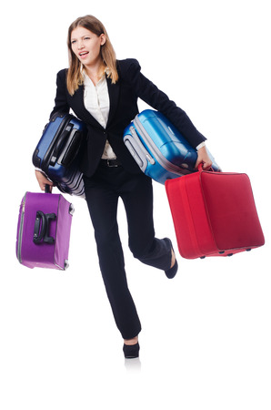 Businesswoman travelling isolated on white Stock Photo - 23369788