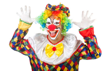clown: Funny clown isolated on white