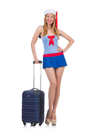 Woman travel attendant with suitcase on white Stock Photo - 23541514