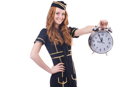 Sailor with clock isolated on white photo
