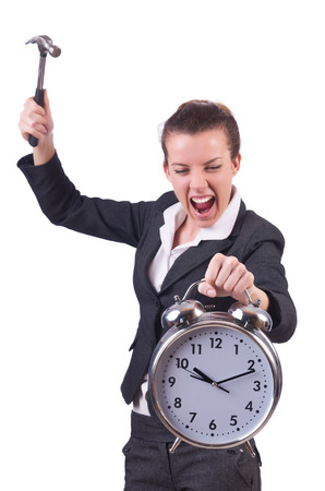 destroying: Woman trying to break the clock