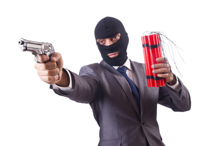 Terrorist with dynamite isolated on white Stock Photo - 23494176