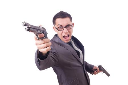 Funny businessman with gun on white photo