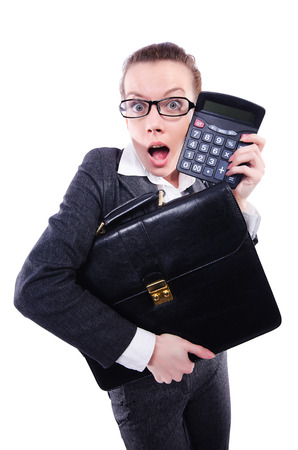 Funny accountant isolated on the white background photo