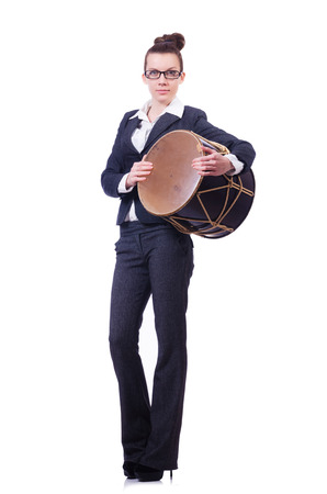 nagara: Funny businesswoman with drum isolated on white