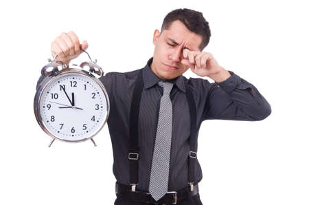 Funny businessman with clock isolated on white Stock Photo - 23494358