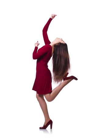 donna che balla: Donna danza isolato sul bianco Archivio Fotografico