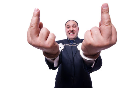 Businessman with handcuffs on white Stock Photo - 23877073