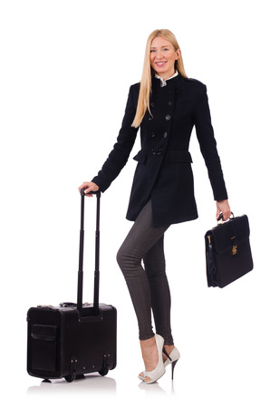 Businesswoman with travel suitcase on white Stock Photo - 23504609