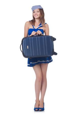Woman travel attendant with suitcase on white Stock Photo - 23499604