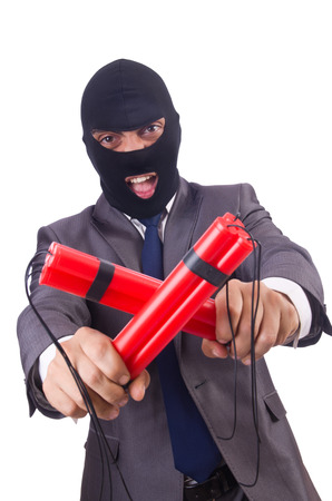 Terrorist with dynamite isolated on white Stock Photo - 23499648