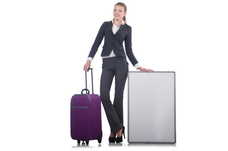 Woman preparing for vacation with suitcase on white Stock Photo - 23499769
