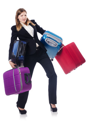Businesswoman travelling isolated on white Stock Photo - 23499780