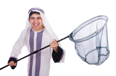 Arab businessman with catching net on white photo