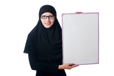 Muslim woman with blank board on white photo
