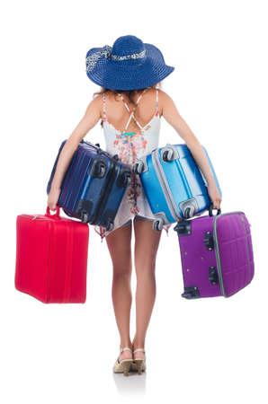 Mujer que va a las vacaciones de verano aislados en blanco Foto de archivo