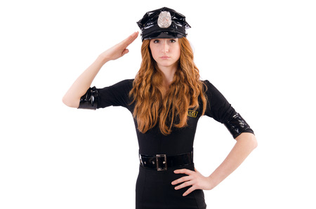 Redhead police officer isolated on white photo