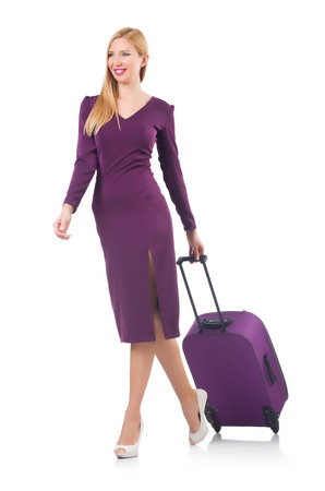 Woman preparing for vacation with suitcase on white Stock Photo - 23551309