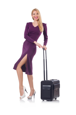 Woman preparing for vacation with suitcase on white Stock Photo - 23551311