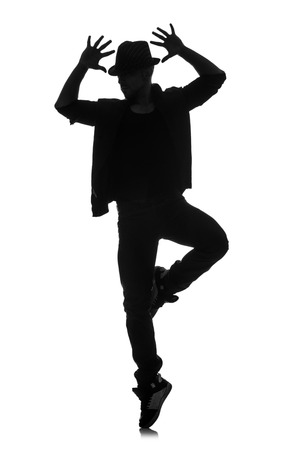 dancer silhouette: silhouette of male dancer isolated on white Stock Photo