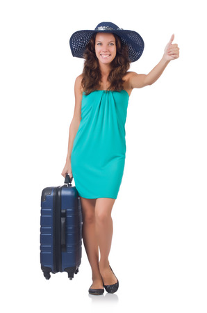 Woman going to summer vacation isolated on white Stock Photo - 23551398
