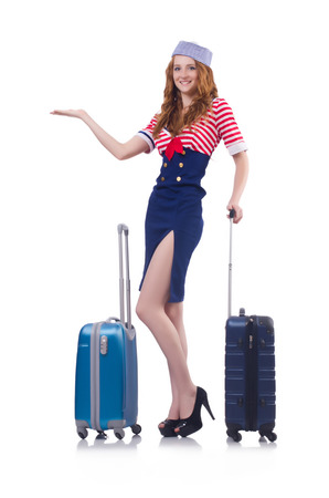 Woman travel attendant with suitcase on white Stock Photo - 23509397