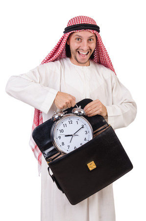 Arab man in time concept on white photo