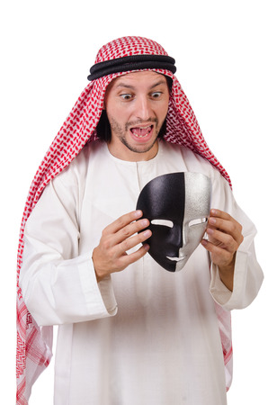 hypocrisy: Arab in hypocrisy concept on white Stock Photo