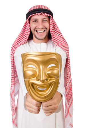 Arab in hypocrisy concept on white photo