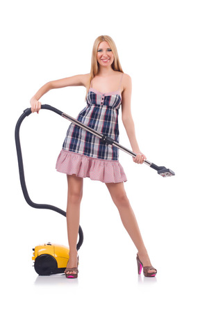 Young woman with vacuum cleaner on white Stock Photo - 23551553