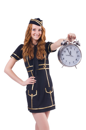 Sailor with clock isolated on white Stock Photo - 23509995