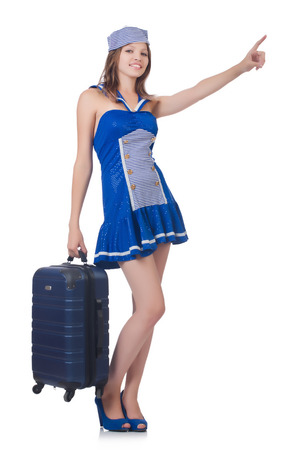 Woman travel attendant with suitcase on white Stock Photo - 23510217