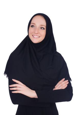 burqa: Woman with muslim burqa isolated on white
