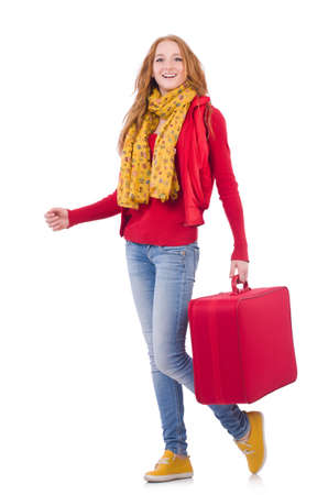 Woman preparing for vacation with suitcase on white Imagens