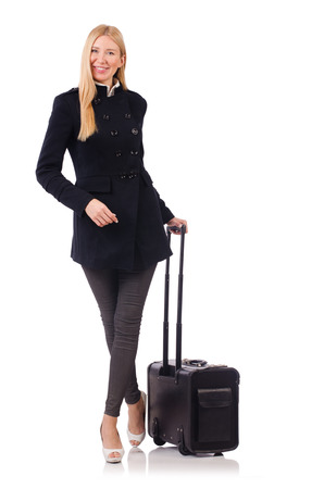 Businesswoman with travel suitcase on white photo