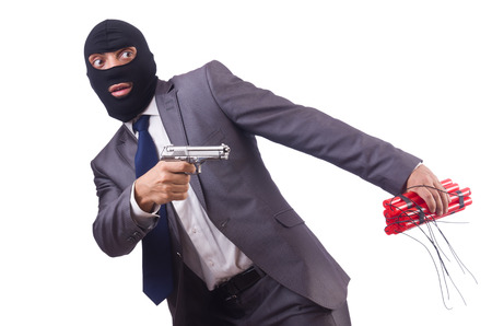 Terrorist with dynamite isolated on white Stock Photo - 23510768