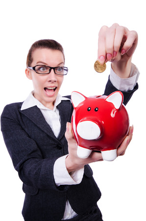 Woman with piggybank on white photo