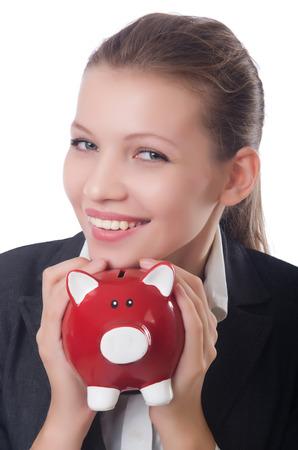 Woman businesswoman with piggybank on white Stock Photo - 23511547