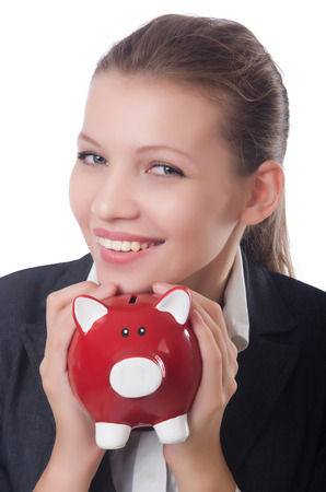 Woman businesswoman with piggybank on white Stock Photo - 23511547