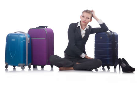 Businesswoman travelling isolated on white Stock Photo - 23511700