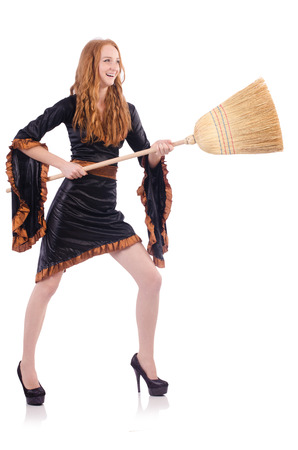 Nice witch with broom on white Stock Photo - 23551770