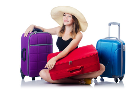 Young girl travelling isolated on the white Stock Photo - 23551771