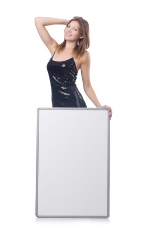 Young woman with blank poster Stock Photo - 23551777