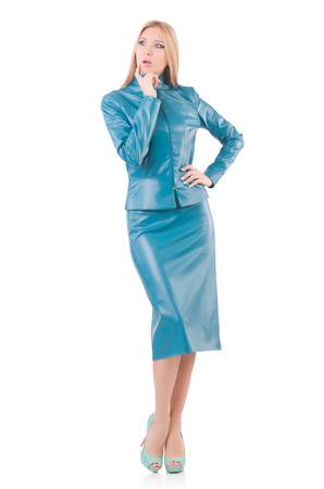 Woman model in blue leather suit photo