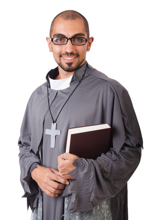 clergyman: Young priest isolated on the white