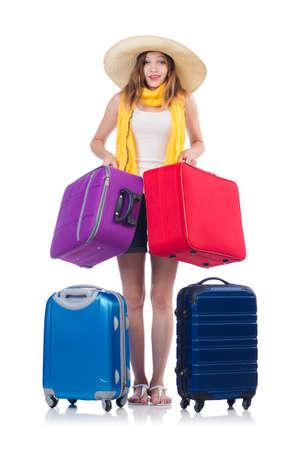 Mujer que va a las vacaciones de verano aislado en blanco Foto de archivo