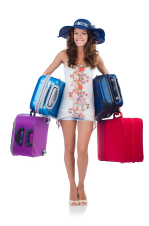 Woman going to summer vacation isolated on white photo