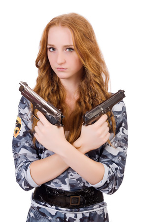 camouflage woman: Young woman soldier with gun on white